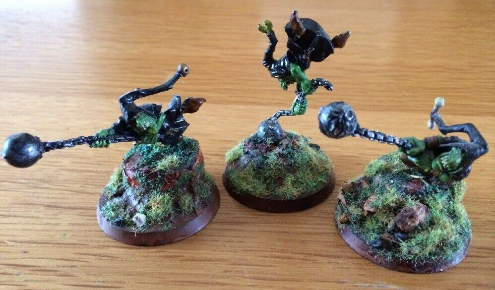 Citadel GW Metal Painted Miniatures OOP Lot Of 3 Night Goblin Fanatics RARE