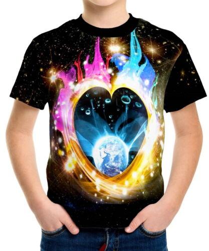 Twin Flame Heart Boys Kid Youth T-Shirts Tee Age 3-13 ael40319