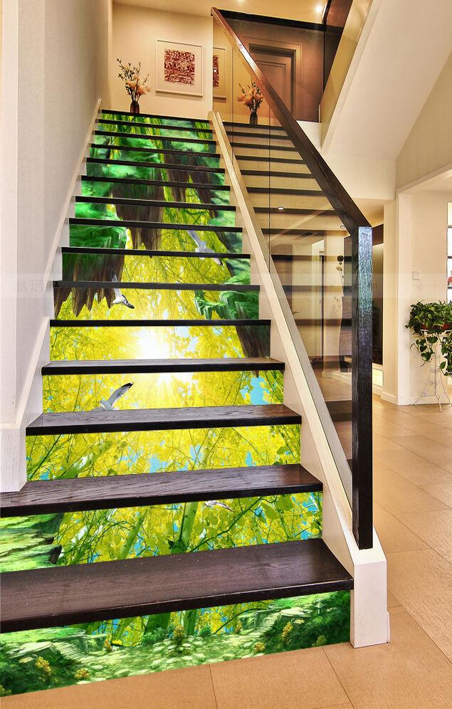3D Grün leaf 77 Stair Risers Decoration Photo Mural Vinyl Decal Wallpaper UK