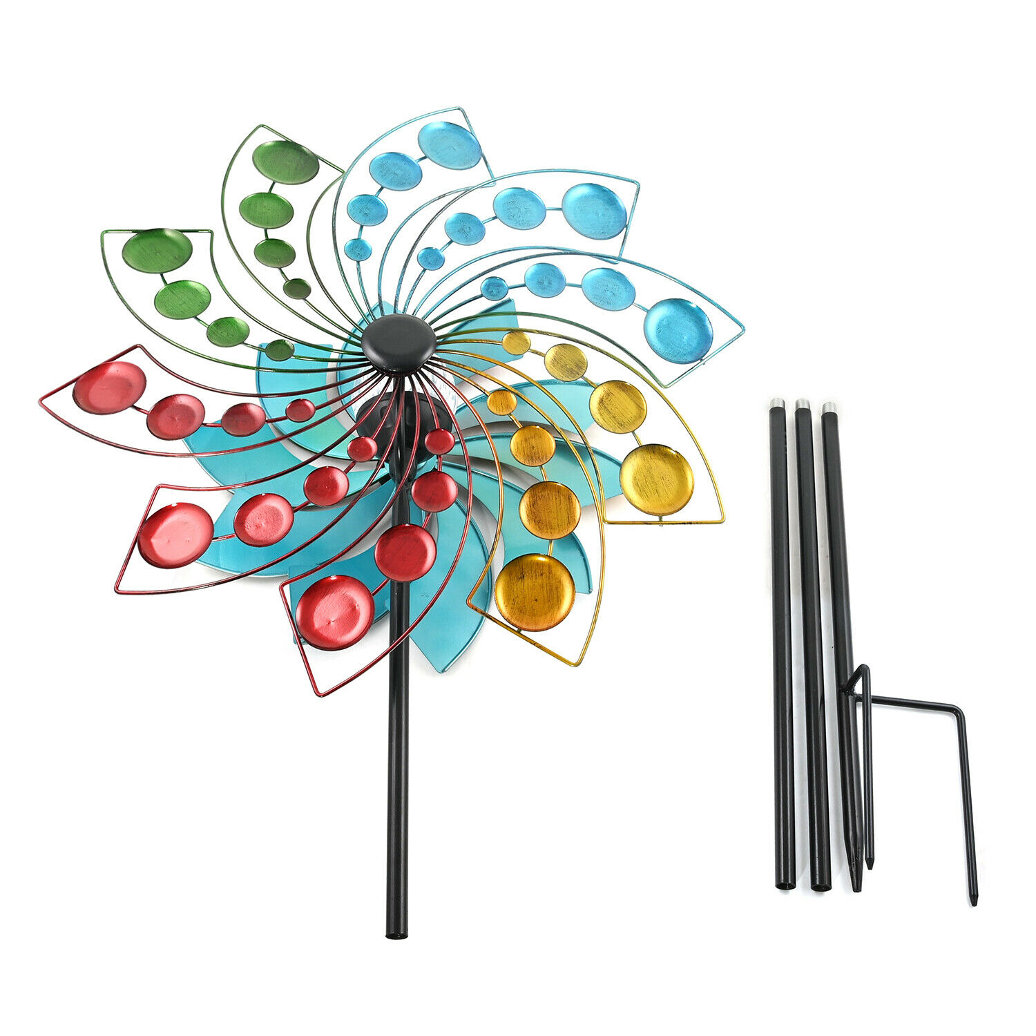 Hand Painted Multicolor Blooming Garden Solar LED Wind Spinner Adjustable Height