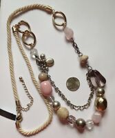 Additions By Chico's 'melayu' Pink Double Strand Mixed Metal Necklace-$34.95-nwt