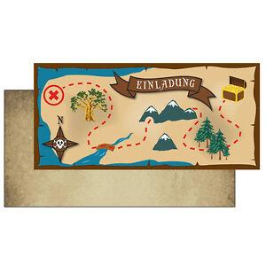 8 Postkarten Einladungskarte Einladung Geburtstag Schatzsuche