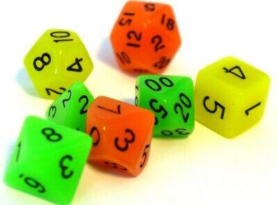 dice4friends glow RPG Würfel 7 Set Polyedrisch  DnD leuchtend gelb Rollenspiel