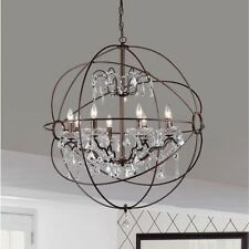 Antique Bronze Orb Globe Chandelier 8 Light Crystal Hanging Fixture Ring