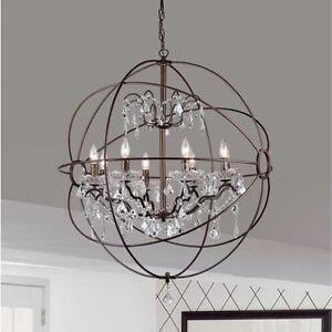 Antique bronze orb globe chandelier 8 light crystal hanging light antique bronze orb globe chandelier 8 light crystal aloadofball Images