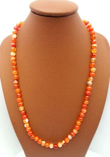 Collier en Pierre Naturelle Agate Orange Minéral lithothérapie Bijoux Femme