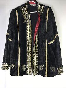 Soft-Surroundings-Size-L-Black-Velvet-Embroidered-Open-Front-Draped-Blazer-India
