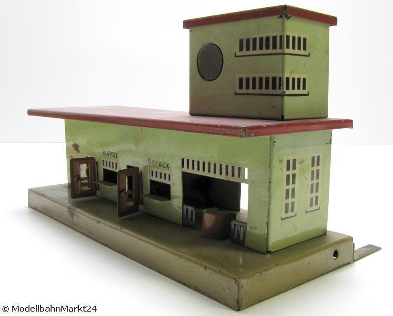 KIBRI Bahnhof altes Blech-Model aus Vorkriegszeit beleuchtet Spur H0 1 87