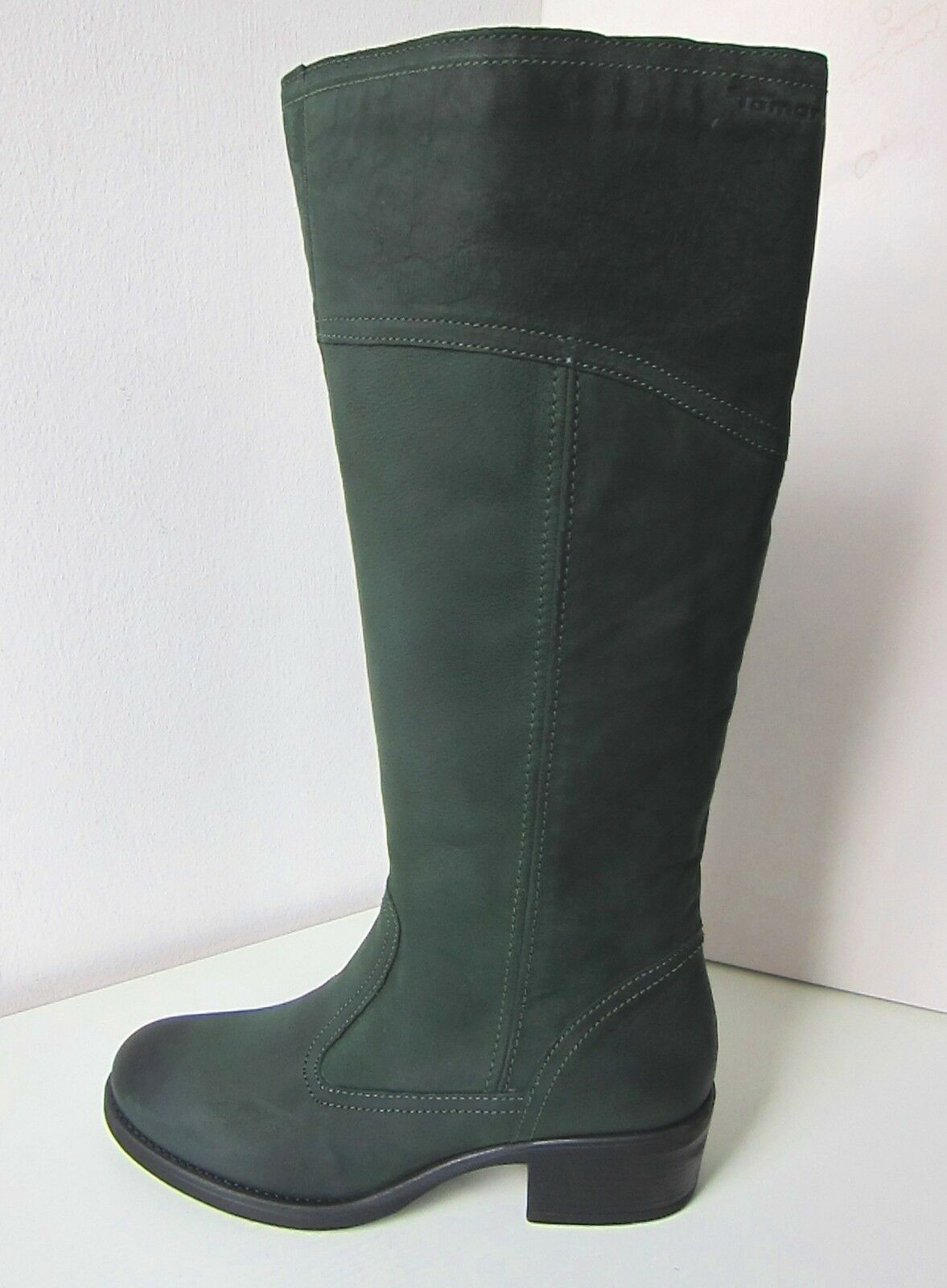 Tamaris pelle di velluto stivali larghezza L verde TG 41 SCURO leather boots BOTTLE VERDE SCURO 41 17e0c6