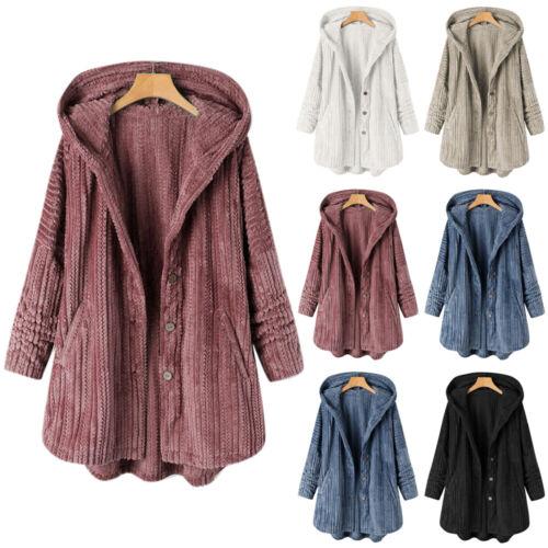Damen Fluffy Plüschmantel Winter Outdoor Warm Parka Jacke Lose Mantel Outwear