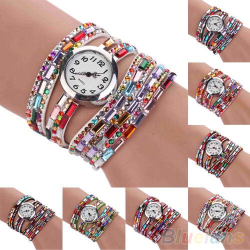 Classic Woman Multilayers Colorful Beads Crystal Quartz Bracelet Wrist Watch New