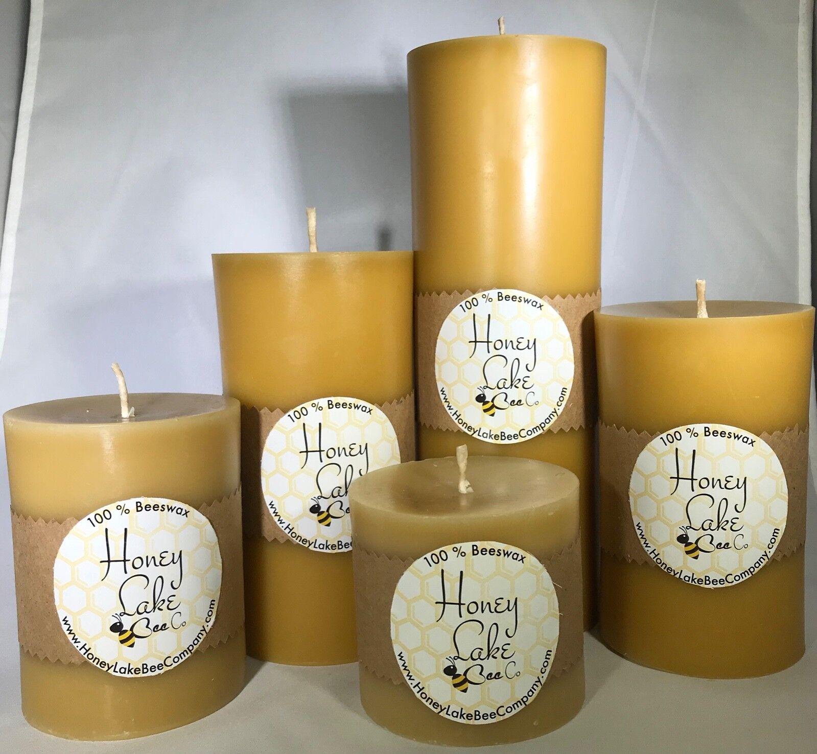 100% Pure Beeswax Pillar Candles Handmade Set of 5 - 3x3 3x4 3x5 3x6 3x9