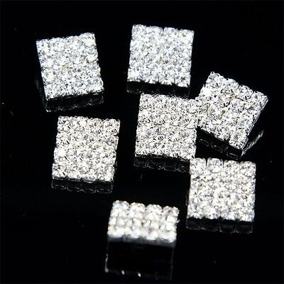 10 Pcs Sparkling Clear Rhinestone Crystal Silver Rectangle Shank Buttons Sewing