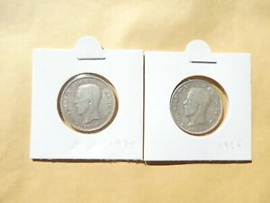 Sweden Lot Of 2 Coins, 1 Krone ,1924, 1936, Silver