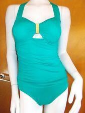 Jantzen Non-Wired Padded Buckle Detail Tie-Halter Swimsuit 8 Green BNWoT