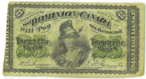 Dominion-of-Canada-1870-25-Cents-Shinplaster-Plain-No-Series-Letter-VG