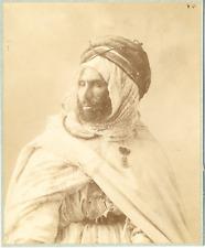 Algérie, Caïd Vintage albumen print.  Tirage albuminé  21x27  Circa 1875