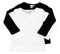 Pack of 2 Girls Ex H&M Long Sleeve T-Shirt Top Black & White Age 1 to 6 Years