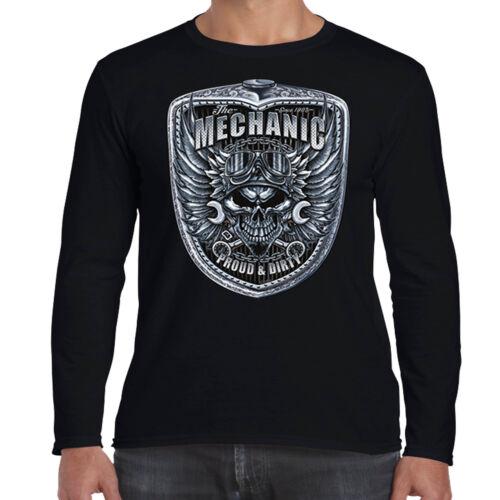 Hotrod para hombre Manga larga Mecánico Camiseta Retro Clásico Parrilla ropa de garaje