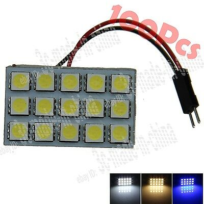 100X Auto 15 SMD 5050 LED Panel Light Dome Lamp With T10 Festoon Adapter ZJ004