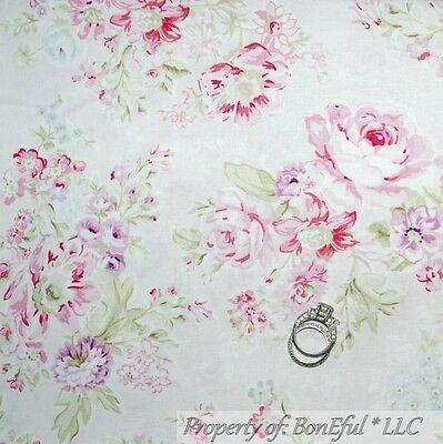 BonEful Fabric FQ Cotton Quilt VTG Pink White Victorian Rose Shabby Chic Flower
