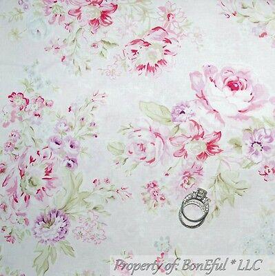 BonEful Fabric FQ Cotton Quilt VTG Pink White Victorian Rose Shabby Chic Flower