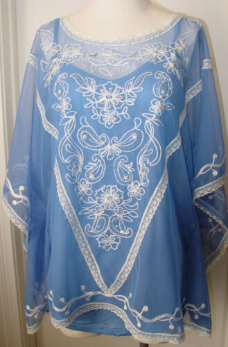 2 Periwinkle st Lee Krista Montage Top Embroidery Blue Damesblouse Beads La 0XPOq