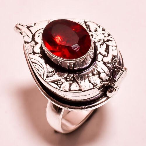 Red garnet handmade poison pillbox ring US free shipping R-101