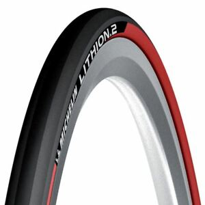 Rouge-Michelin-Lithion-Pliable-Velo-Course-Route-Cycle-Pneu-700-25C
