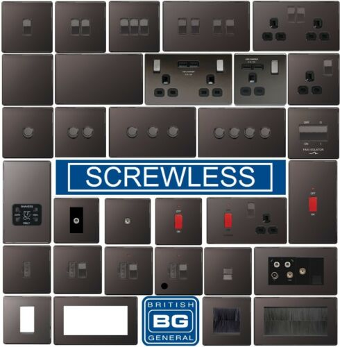 BG Black Nickel Switches /& Sockets Full Range Screwed Or Screwless Flatplate