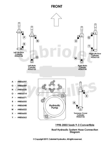 """P//N 4856555 1998-2003 Saab 9-3 Convertible Top Hydraulic Hose//Line Letter /""""R/"""""""