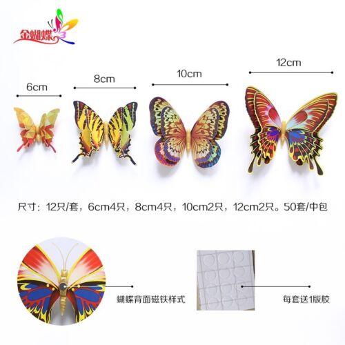 12PCS 3D Laser Butterflies Art Wall Fridge Magnets Sticker Decal Room Door Decor
