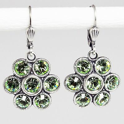 Ohrringe Ohrhänger Silber Swarovski Kristall Blume Vintage Retro Chrysolite grün