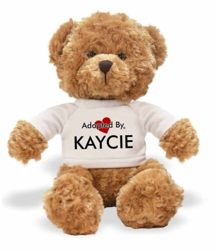 Adopted By KAYCIE Teddy Bear Wearing a Personalised Name T-Shirt