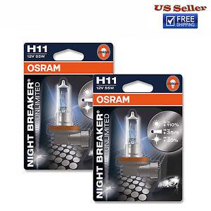osram night breaker unlimited h11 bulbs 55w brand new pair ebay. Black Bedroom Furniture Sets. Home Design Ideas