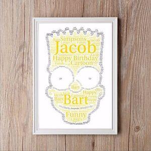 Image Is Loading Bart Simpson Birthday Personalised Word Art Print Gift