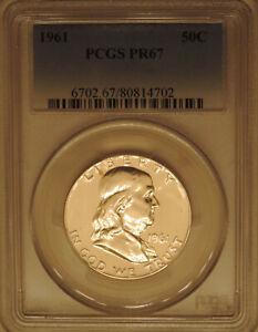 1961-PCGS-PR-67-Franklin-half-dollar-proof-superb-GEM-90-silver