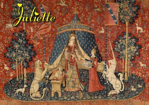 puzzle  LA DAME A LA LICORNE MEDIEVAL REF 62-120 PIECES AVEC OU SANS  PRENOM