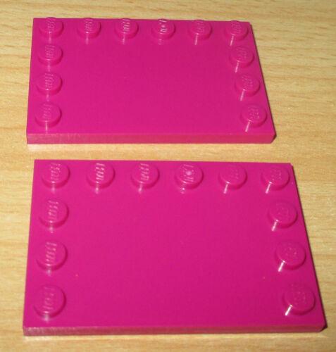 2 Fiesen Platte 4x6 mit 12 Noppen  rum dunkel Pink 6180 Lego Friends