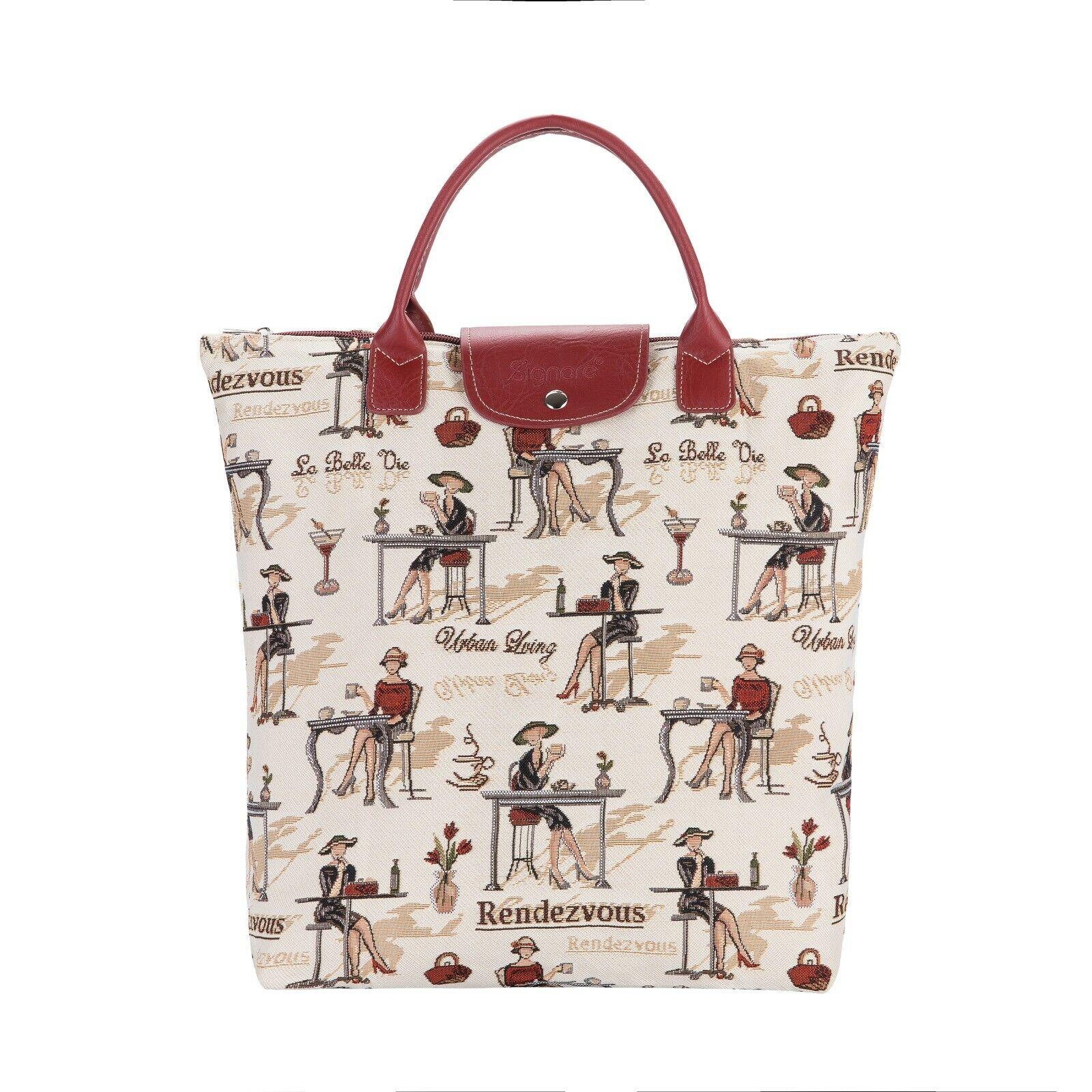 RENDEZVOUS FOLDAWAY SHOPPING BAG BEIGE FOLDABLE TAPESTRY TOTE WOMEN LADIES GIFT