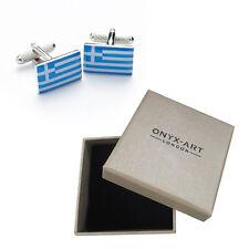 Mens Greece Flag Country Cufflinks & Gift Box By Onyx Art - Greek