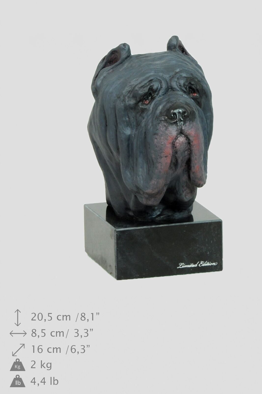 Neapolitan Mastiff - dog painted figurine on marble base, high quality, Art Dog