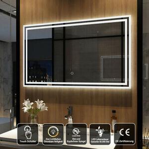 Led Badspiegel 100x60 Cm Dimmbar Helligkeit Touch Wandspiegel Mit