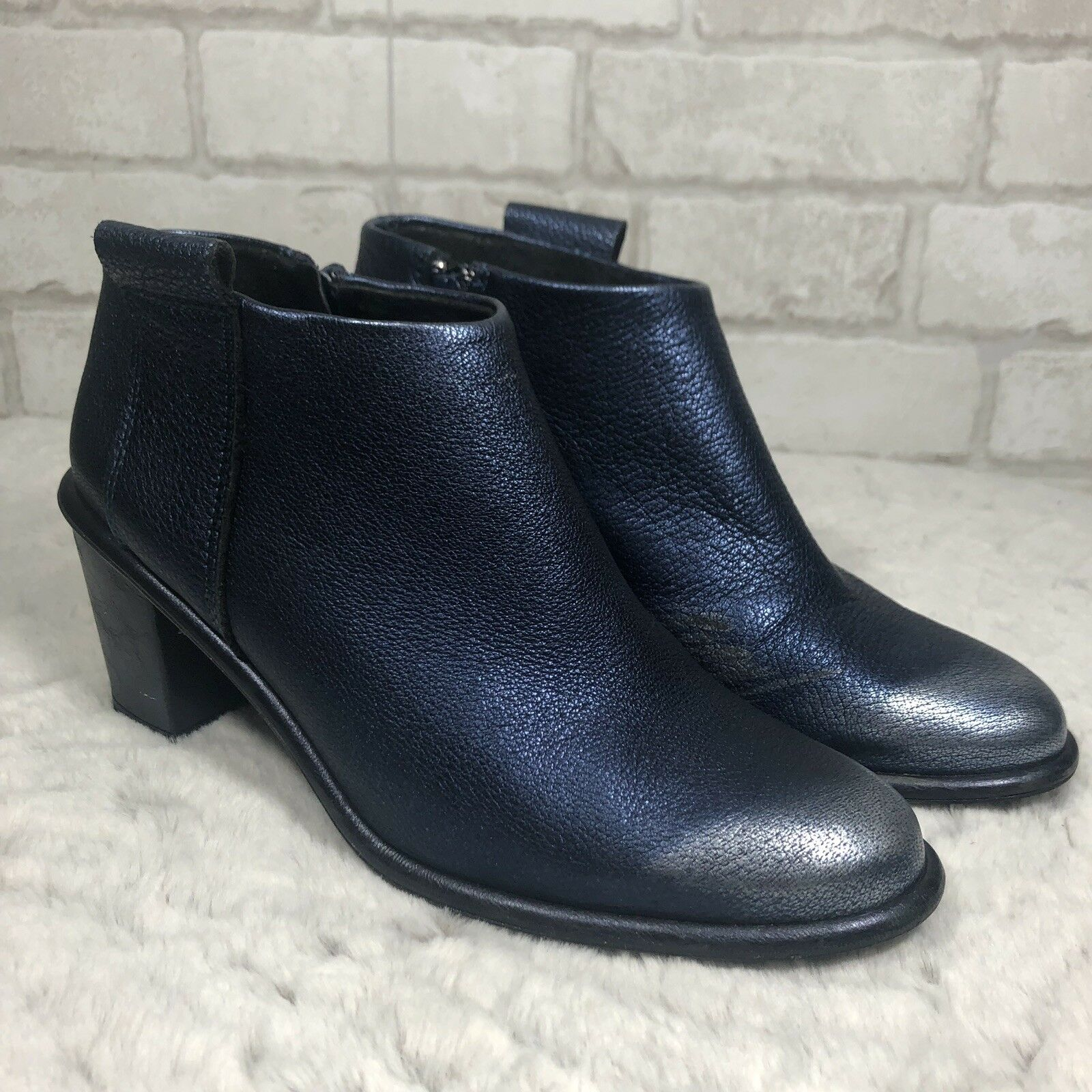 Miista Leather bluee Silver Metallic Zipper Ankle Bootie Chunky Heel SzUS8 ( K15)