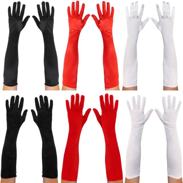 Long Black Ladies Evening Gloves Velveteen Smiffys Fancy Dress Accessory