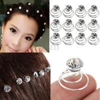 12Pcs Silver Clear Crystal Hair Coil Swirl Spiral Twist Pin Bridal Wedding Prom