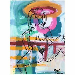 Matt-Scalf-Nude-Woman-Naked-Chick-Abstract-ORIGINAL-PAINTING-9x12-Hairy-Female