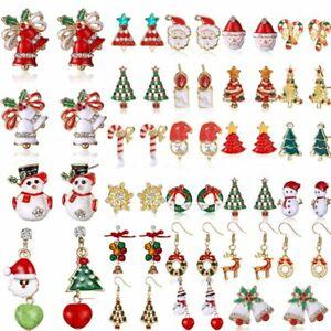 Christmas-Santa-Claus-Snowman-Tree-Bell-Deer-Earrings-Hook-Ear-Stud-Xmas-Party