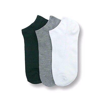 Women Black Gray White Plain No Show SPANDEX Ankle Socks Size 9-11 Wholesale Lot