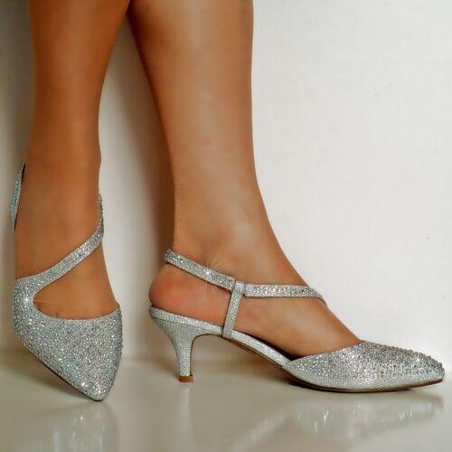 NEW Ladies Diamante Party Evening Prom Low Kitten Heel Court Shoe Size 007